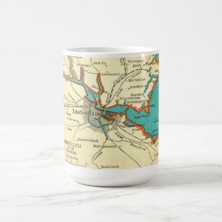 Mapa del vintage de la taza de AMSTERDAM