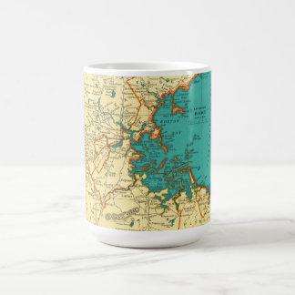 Mapa del vintage de la taza de BOSTON MASSACHUSETT