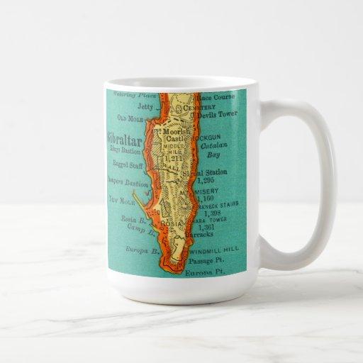 Mapa del vintage de la taza de GIBRALTAR