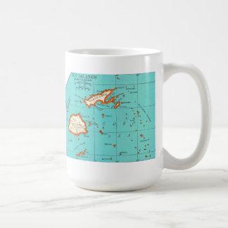 Mapa del vintage de la taza de las ISLAS FIJI