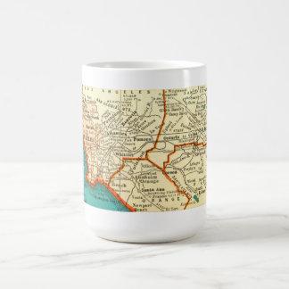 Mapa del vintage de la taza de LOS ÁNGELES CALIFOR