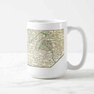 Mapa del vintage de la taza de PARÍS FRANCIA