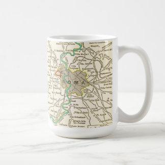 Mapa del vintage de la taza de ROMA ITALIA