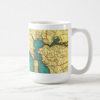 Mapa del vintage de la taza de SAN FRANCISCO
