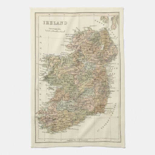 Mapa del vintage de la toalla 1862 de té de la