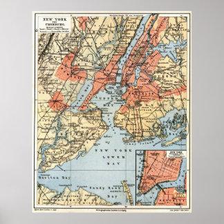 Mapa del vintage de la vecindad de New York City Póster