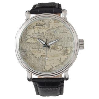 Mapa del vintage de las Américas (1540) Reloj De Mano