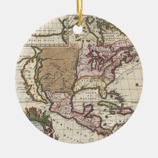 Mapa del vintage de las Américas (1698) Adorno Redondo De Cerámica