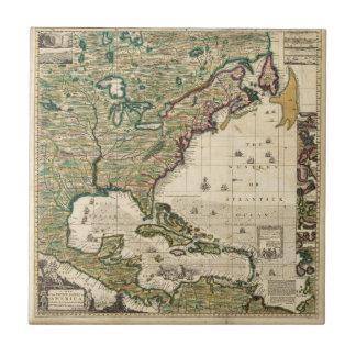Mapa del vintage de las Américas 1733 Azulejos Ceramicos
