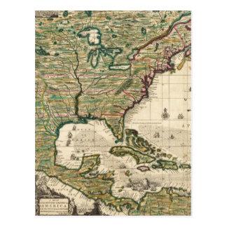 Mapa del vintage de las Américas 1733 Postal