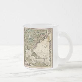 Mapa del vintage de las Américas (1733) Tazas De Café