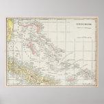 Mapa del vintage de las Bahamas (1901) Póster