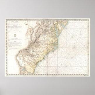 Mapa del vintage de las colonias meridionales póster