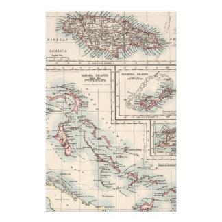Mapa del vintage de las diversas islas caribeñas personalized stationery