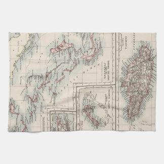 Mapa del vintage de las diversas islas caribeñas toalla de cocina
