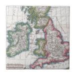 Mapa del vintage de las islas británicas (1780) azulejo cerámica