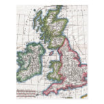 Mapa del vintage de las islas británicas (1780) postales