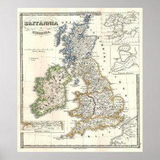Mapa del vintage de las islas británicas (1855) póster