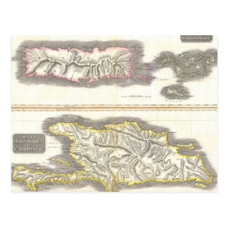 Mapa del vintage de las islas caribeñas (1815) postal