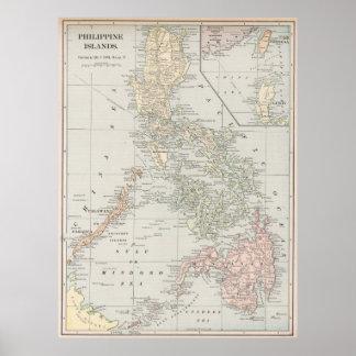 Mapa del vintage de las islas filipinas (1901) póster
