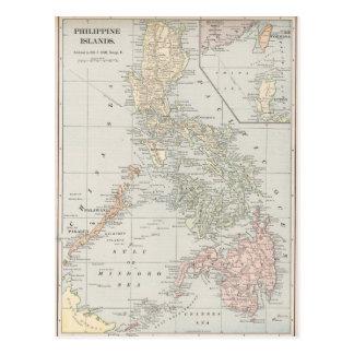 Mapa del vintage de las islas filipinas (1901) tarjeta postal