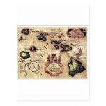 Mapa del vintage de las islas hawaianas con los le postal