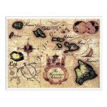 Mapa del vintage de las islas hawaianas con los postal