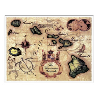 Mapa del vintage de las islas hawaianas con los postales