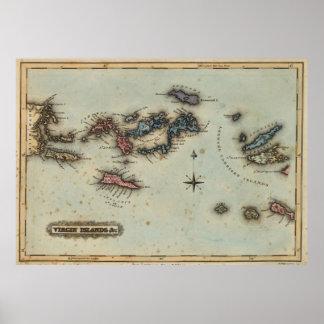 Mapa del vintage de las Islas Vírgenes (1823) Póster