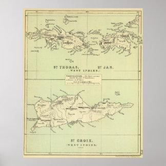 Mapa del vintage de las Islas Vírgenes (1853) Póster