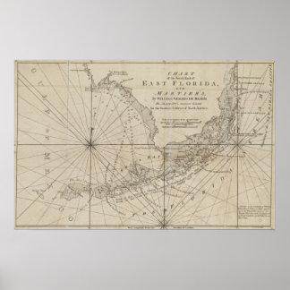 Mapa del vintage de las llaves de la Florida (1771 Póster