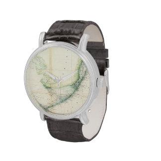 Mapa del vintage de las llaves de la Florida Relojes