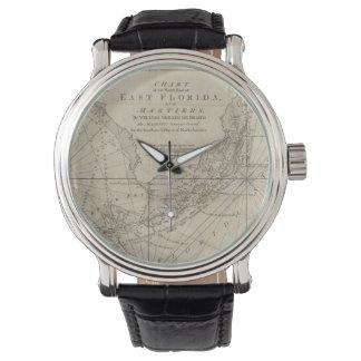 Mapa del vintage de las llaves de la Florida Reloj De Mano