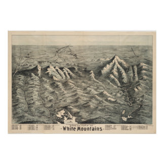 Mapa del vintage de las montañas blancas (1890) póster