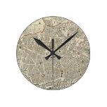 Mapa del vintage de Liverpool Inglaterra (1836) Relojes De Pared
