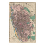 Mapa del vintage de Liverpool Inglaterra (1890) Poster