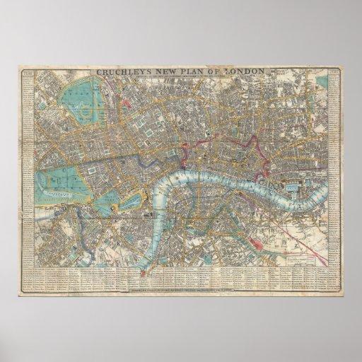 Mapa del vintage de Londres (1848) Póster