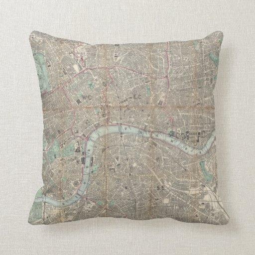 Mapa del vintage de Londres (1890) Almohada