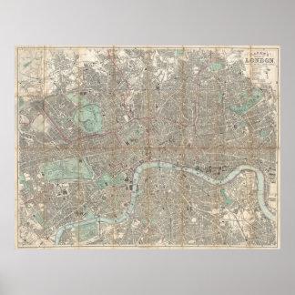 Mapa del vintage de Londres (1890) Póster