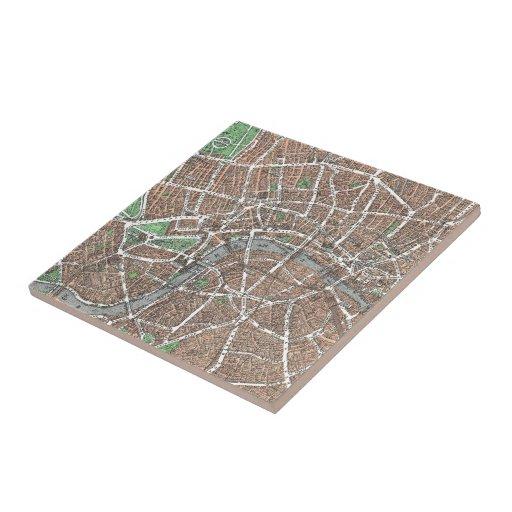 Mapa del vintage de Londres (1923) Azulejo Cuadrado Pequeño
