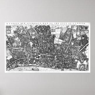 Mapa del vintage de Londres Inglaterra (1677) Póster