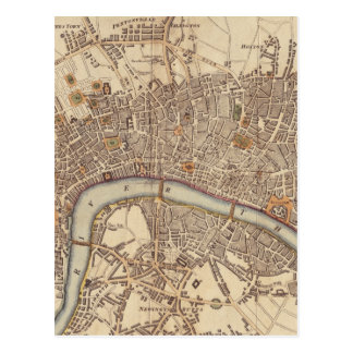 Mapa del vintage de Londres Inglaterra (1807) Postal