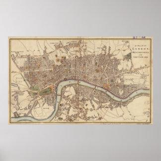 Mapa del vintage de Londres Inglaterra (1807) Póster