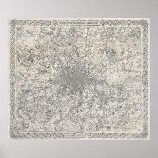 Mapa del vintage de Londres Inglaterra (1855) Póster