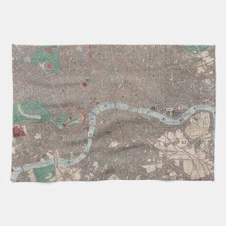 Mapa del vintage de Londres Inglaterra (1862) Toallas De Mano