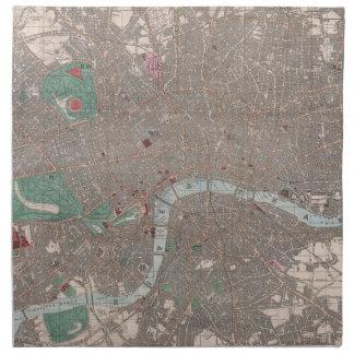 Mapa del vintage de Londres Inglaterra (1862) Servilletas Imprimidas