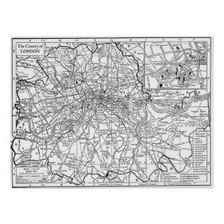 Mapa del vintage de Londres Inglaterra (1911) Póster