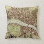 Mapa del vintage de Londres (siglo XVII) Almohada