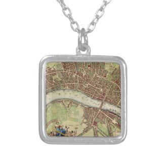 Mapa del vintage de Londres (siglo XVII) Colgante Cuadrado
