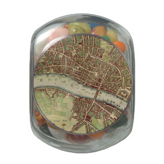 Mapa del vintage de Londres (siglo XVII) Frascos Cristal